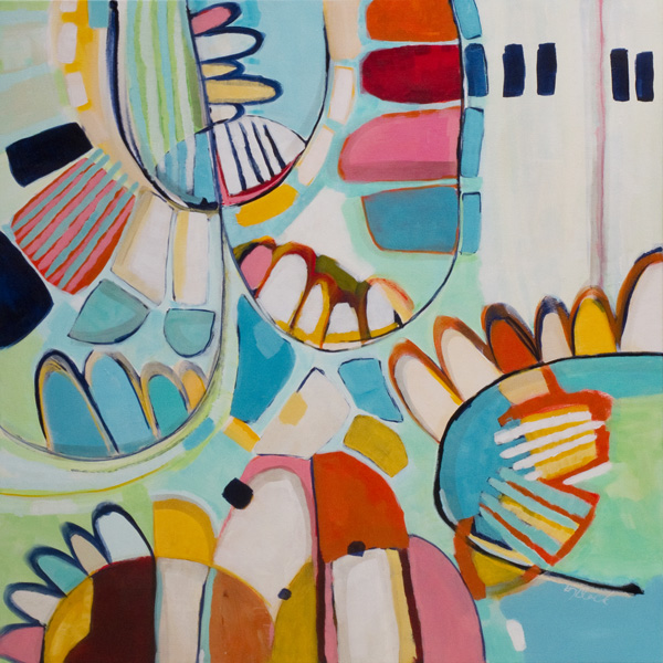 Original abstract art, Budgie Day Care by Kirsty Black