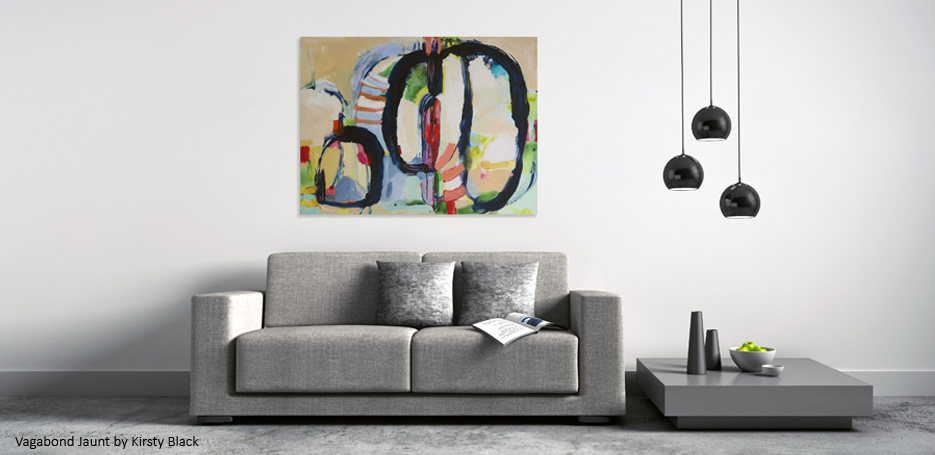 Vagabond Jaunt in-situ by Kirsty Black, large abstract painting in-situ above 2 seater couch