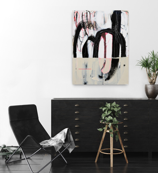 gestural abstraction, contemporary painting by Kirsty Black viewed on a wall