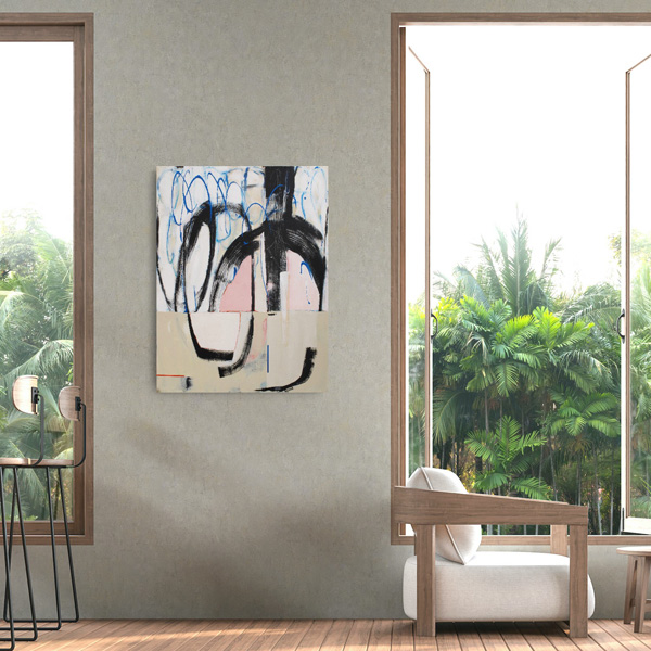 Contemporary abstract painting Hullabaloo by Kirsty Black viewed on a wall