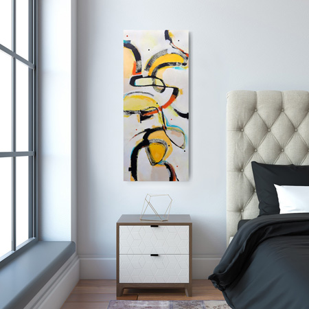 NZ painting for sale, abstract artwork viewed on a wall
