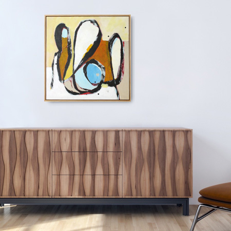 contemporary nz painting for sale, viewed on a wall