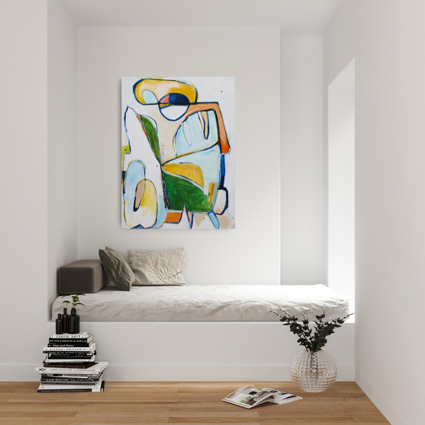 Contemporary abstract expressionism Wayzegoose by Kirsty Black superimposed on a wall