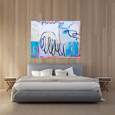 NZ abstract painting Loopy Lie viewed on a wall, acrylic on canvas. Statement artwork, 1500x1100x40mm. Available for sale.